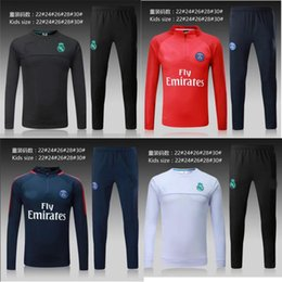 Wholesale Boy S Sweaters - Paris KIDS BOYS soccer 2017 psg Real madrid kids soccer chandal football tracksuit Children's KIDS training suit Sweater pants Sportsw