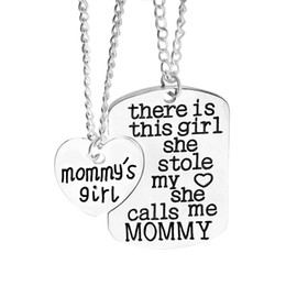 Wholesale Heart Sets Girls - mother daughter jewelry there is this girl she stole my heart she calls me Mommy Mommy's Girl engraved heart Pendant necklaces 2pc set