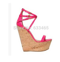 Wholesale High Heel Wedge Pumps - 14cm high heel summer pumps party dress wedge sandals for women