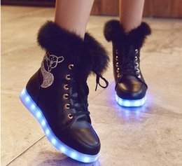 Wholesale White Winter Boots Girls - Highquality High Quality Women LED Light Boots Casual Rabbit Rhinestones USB Charging Luminous Shoes Winter Footwear Girls