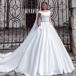 Wholesale Brides Dress Falls Off - 2016 New Modern Satin Wedding Dress A Line Off the Shoulder Sleeveless Bridal Gowns with Beaded Belt Pocket Custom Made Bride Dresses