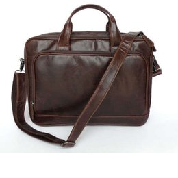 Wholesale Laptop Hand Bag Briefcase Messenger - Classic 100% Genuine Leather Men's Shoulder Bag Messenger Bag Business Briefcase Hand bag Laptop Bag 7005