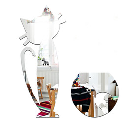 Wholesale Decoration Fish Stickers - Removable sticker creative kitchen Korean fashion cartoon cat and the fish tank home decoration mirror new 2016 European and American