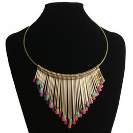 Wholesale Plastic Plates For Weddings Wholesale - Multicolor Match stick Tassel short circle necklace Collar statement necklace Personality exaggerated bohemia style for women LY