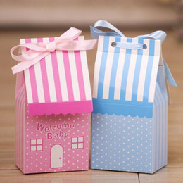 Wholesale Pink Treat Bags - 500pcs Small House Blue Pink Tie Ribbon Birthday Boy Baby Shower Favor Candy Treat Bag Wedding Favors Candy Box Gift Bags ZA1246