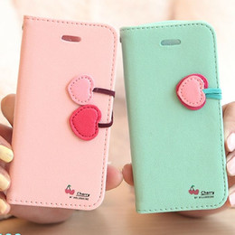 Wholesale Cute Iphone 5s Flip Case - For iPhone 5S Stand Wallet Cases Cute Cherry Series PU Flip leather Case For iPhone 5C 4S 4 Card Slot Holster Cover