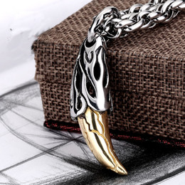 Wholesale Tiger Necklace Men - Top Quality Titanium Steel Pendant Tiger Tooth Vintage Pendants 316L Stainless Steel Fit Necklaces Chain For Man Fashion Jewelry