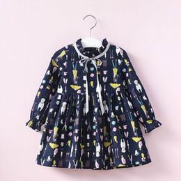 Wholesale Wholesale Dress Up Tutu - 2017 Autumn New Girls Dresses Neckline lace-up Cartoon Print Long Sleeve Dress Children Clothing E317034
