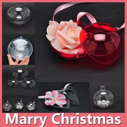 Wholesale Christmas Presents Ornaments - 2016 Christmas Gift Christmas Decoration Plastic Round Ball Christmas Clear Bauble Ball Ornament Gift Present Xmas Tree DIY DHL Free 161014