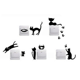 Wholesale Cat Tile - 1 Set of 5pcs Funny Cute Cat Mouse Fish Light Switch Wall Decal Vinyl Stickers