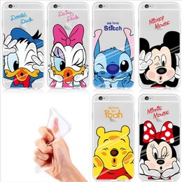 Wholesale Duck Iphone Cover - Cartoon Minnie Mickey Daisy Donald Duck Stitch Pooh Bear Soft TPU Crystal Clear Gel Skin Back Cover Case For Apple iPhone 5 5S SE 6S Plus
