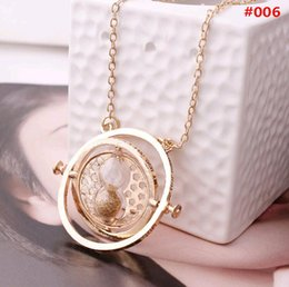 Wholesale Harry Potter Necklaces - free dhl Hot Sale Harry Potter Time Turner Necklace Hermione Granger Rotating Spins Gold Hourglass