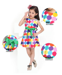 Wholesale Korean Outfit Dress - Dot Princess Dresses Girls Birthday Party Outfit Girls Bow Dresses Red Dot Kids Babies Korean Style Suspender Dress Children's clothing