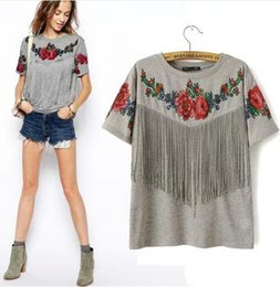 Wholesale Shirt Tribal - 2016 summer new Women wholesale short sleeve chest tassel fringed roses floral printed crew neck grey Tribal High Street t shirt