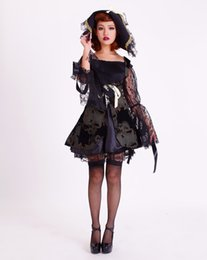 Wholesale Sexy Witch Costumes For Women - New high quality Black queen dress Halloween Costumes for Women Sexy vampire Witch Cosplay Carnival Party Princess Costume