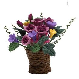 Wholesale Miniature Flower Pots - Wholesale- Dollshouse Miniatures 1:12 Doll House Garden Accessories Purple Red Multi-color Potted Rose Morning Glory Rattan Flower Basket
