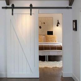 Porta portas de armário deslizante on-line-Frete grátis-Home DIY Aço Porta de Correr Barn Hardware-madeira rústica Armário com portas de Hardware 5 pés / 6ft / 6,6 pés