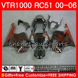 Flames Fairing Bodywork For  VTR1000F 1995-2005 SuperHawk Firestorm 11 C4