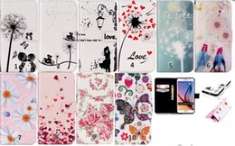 Wholesale Iphone Love Flower Case - Flowers Hearts Butterfly Love Wallet Leather Case Cover For Iphone 5 6 6s plus Samsung S6 edge Plus Note5 PU Card Slots Stand