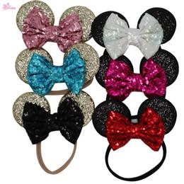 Wholesale Minnie Headband Hair - XIMA 1PC Child Mickey Minnie Mouse Ears Glitter Sequin Headband Kids Girls Elastic Sequin Headwrap Hair Accessory