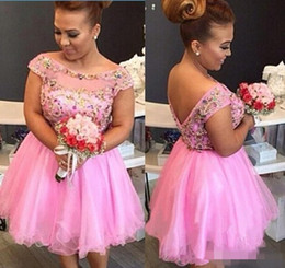 Wholesale Silver Diamond Prom Dresses - Pink Plus Size Homecoming Dresses Diamonds Beading Cap Sleeve Tulle Short Prom Dress Party Gown vestido curto Dress for Party Wear