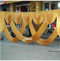Wholesale Elegant Backdrops - 6 Meter Length Wedding Party Ice Silk Fabric Drapery Gold Swag Stage Elegant Fashion Drape Curtain Backdrop