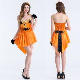 Wholesale Sleveless Mini Dress - 2017 Girls Pumpkin Print Romper Halloween Clothes Sexy Party Cocktail Mini Dress Stage dress Sleveless Loose Comfortable