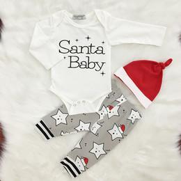 Wholesale Baby Boy 12 Months Winter - 3pcs Toddler Newborn Baby Boy Girl Christmas Santa Baby Clothing Set Romper Pants Cap Bodysuit Jumpsuit Printed Letter Star