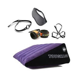 Wholesale Sex Wedges - Inflatable Sex Pillow With 5 Pieces Slave Bdsm Adult Restraints Wedge Triangle Pillow Sex Furnitures Fetish Sex Toys for Couples q171110