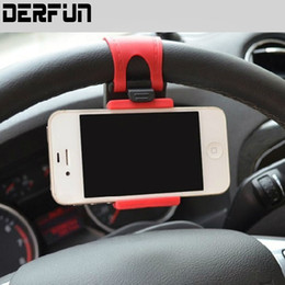 Wholesale Car Mp3 Steering Wheel - Universal Car Steering Wheel Mobile Phone Holder Elastic Design Mobile Phone Holder Stand For Smart Phone GPS MP4 PDA