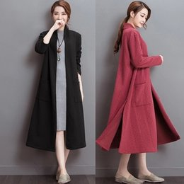 Wholesale Coats Chinese Collars - New Autumn Ladies Cardigan Women Casual Stand Collar Long Coat Women Long Trench Lady Long Sleeves Cardigan Sweater