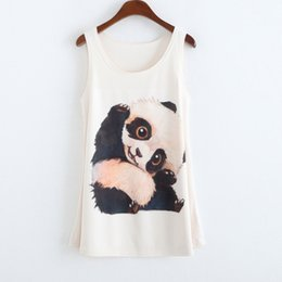 Wholesale Ladies Green Vest Tops Wholesale - Wholesale-New Fashion Cute Panda Printing Women's Tanks Sleeveless Vest Summer Sexy Tops For Women Loose Design White Ladies Tank Top