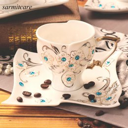 Wholesale Chinese Porcelain Mug - H012 - 2016 Exquisite EU Style White Chinese Ceramic Coffee Cup Rhinestones Enamel Porcelain Mug Cup 2pc Set Ceramic Coffee Set for Girls