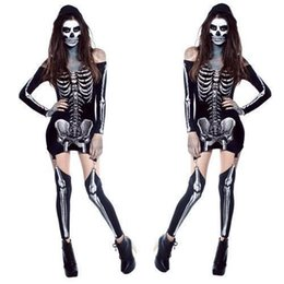 Wholesale Full Human Skeleton - 2016 Halloween New Pattern Human Skeleton Ghost. Corpse Clothing Evening Show DS Stage Dress Show Serve