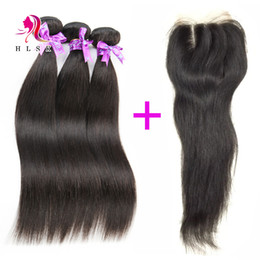 Wholesale Lace Front Parting - Brazilian Straight Hair Bundles With Closure Double Weft Black Straight Hair With Front Lace Closures Middle part 3 Pcs