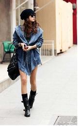2019 moda cool mujer dama denim Moda Mujer Lady Denim Trench Coat Sudadera con capucha Ropa de abrigo Jean Jacket Cool rebajas moda cool mujer dama denim