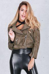 Wholesale Biker Bomber - 2016110120 Winter thick suede bomber jacket women 2016 Autumn badge biker basic jacket coat Fashion warm long sleeve short outwear