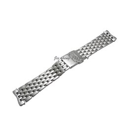 Wholesale Watches Navitimer - JAWODER Watchband 22 24mm High Quality Full Polished Stainless Steel Watch Band Strap Link Bracelet Accessories Silver Adapter for NAVITIMER