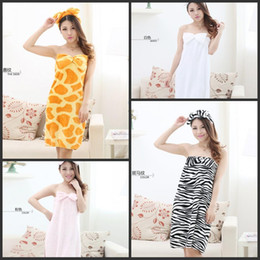 Wholesale Cute Beach Towels Wholesale - Sexy Robes Cute Sleepwear Sleeveles Cartoon Lingerie Flannel Wrapped Bra Bath towel With Bow Beach Spa Home Swimming Skirt Clothes 5PCS DHL