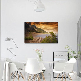 Wholesale Lake Picture Frame - 1 Picture Combination Lake Mountains And Forests Nature Pictures Canvas Wall Art No Framed Prints Home Decor