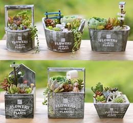 Wholesale Desktop Decorations - Vintage Zakka Succulent plants wood flowerpot cactus bonsai flower pot planters trays storage box home Desktop decoration microlandschaft