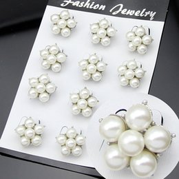 Wholesale Flower Bouquet Jewelry - 12pcs lot Pearl Brooch Flower Bouquet Wedding Brooches Pins Badge for Women Men Christmas Fashion Jewelry Gift Drop Shipping