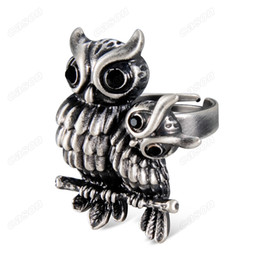 Wholesale High Quality Ancient Ring - Brand Cason New High Quality Two owls ancient silver open ring for women fashiion jewelry silver plated black RJ-0004