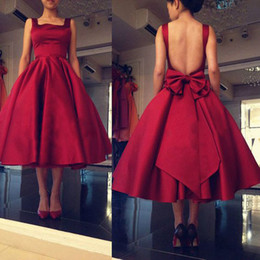 Wholesale Crystal Ball Wine - Elegant Wine Red Puffy Homecoming Dresses Square Hollow Back Tea Length Cocktail Dresses Zipper Backwith Bowk Prom Gowns