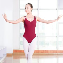 Wholesale Girls Cut Out Tops - Adult Girls Burgundy Double Spaghetti Straps Ballet Dance Leotard Sexy V-neck Sleeveless Ballet Practice Clothes Tops