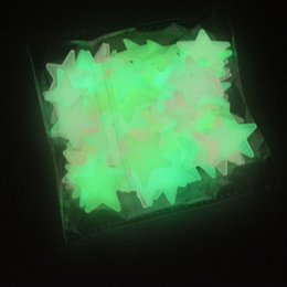 Wholesale Deco Kids - PACK 100PCS 3D GLOW IN THE DARK STAR LUMINOUS DECAL STICKER BEDROOM ROOM HOME WALL ROOF CEILING ART DECO FLUORESCENT MIXED COLOR GREEN