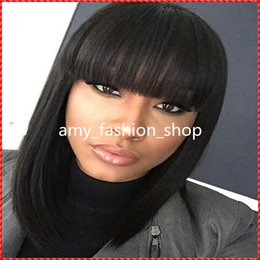 Wholesale Hair Bangs Light Blonde - Grade 6A peruvian virgin hair 130%density bob lace wig front lace wig & glueless simulation lace wig short human hair wigs with bangs