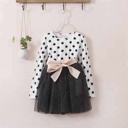 Wholesale Party Dress For Baby Winter - Autumn Winter 3-8 Years Baby Girls Clothing Kids Dresses For Girl Clothes Party Long Sleeve Polka Dot Princess Dress