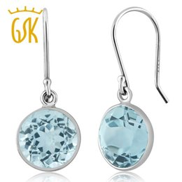 Wholesale Ct Earrings - GemStoneKing 9mm 6.50 Ct Blue Topaz Round 925 Sterling Silver Dangle Earrings For Women Fine Jewelry
