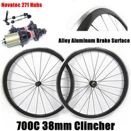 Wholesale 24 Aluminum Wheels - Alloy Aluminum Brake Surface Cycling Wheel 700C 38mm 3K Glossy Clincher Road Bicycle Wheels With Novatec 271 Hubs 20 24 Holes